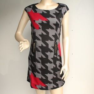 Houdstooth Plaid Faux Leather Retro Shift Dress